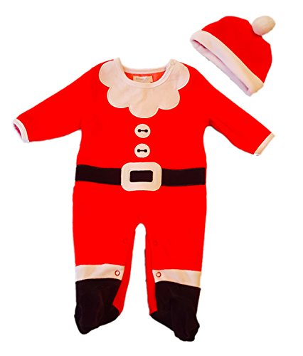 (Pitter Patter Infant's Unisex 2-Piece Velour Santa Suit Sleeper, 3/6 Months, Red)