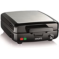 KRUPS 8000035972 GQ502D Adjustable Temperature Belgian Waffle Maker with Removable Plates, 4-Slice, Silver and Black