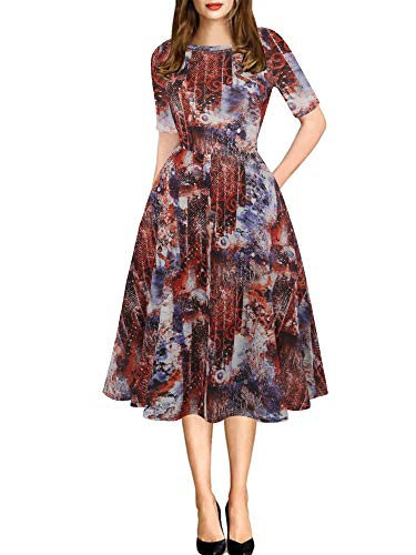 - oxiuly Women's Vintage Round Neck Floral Casual Pockets Tunic Party Cocktail Cotton Blend A-Line Summer Dress OX262 (M, Mu-Red)