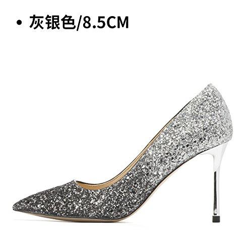 chaussures de hauts hauts talons de 8 femmes 5CM Silver mariage HUAIHAIZ mariage Gray cristal femme mariage Chaussures de soirée chaussures à Escarpins Talons chaussures qPwUat