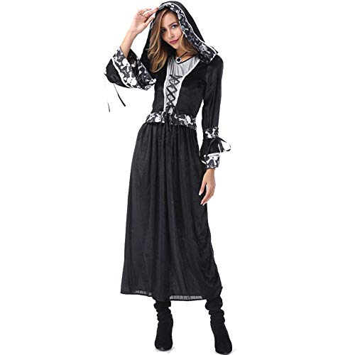 YILUYC Halloween Couple Costume Halloween Bones Couple Costume Black Satin and Polyester Fabric Suitable for Role Playing and Dress Up Parties,Female,XL -