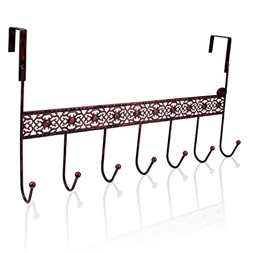ShineMe Over the Door 7 Hooks Hanger Rack for Coats, Hats, Robes, Towels Keys in Kitchen Cabinet Bath Bedroom Cloth Bag Holder Space Saving Home Office Decor (Bronze) by ShineMe