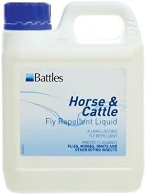 William Hunter Equestrian Líquido repelente de moscas para caballo y ganado de Battles – Contiene DEET y el repelente natural de moscas PMD (elige 500 ml o 5 litros)