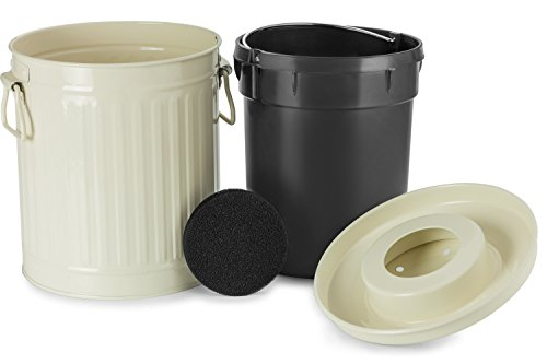 Chef's Star 2 in 1 Carbon Steel Premium Compost Bin with Plastic Inner Pail - 0.5 Gallon - White