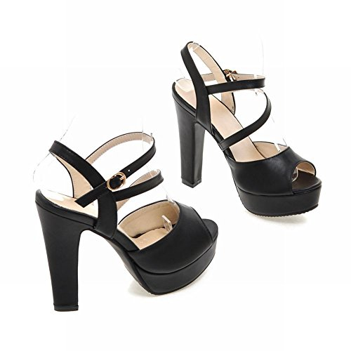 Peep High Heel Platform Ankle Foot Toe Strap Sandals Black Womens Charm E0Oq8Y4