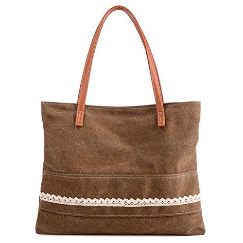 Frauen Jahrgang Leinwand Messenger Aktentasche Schulter Handtasche Seiten Multifunktions Tasche ,Brown-OneSize