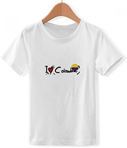 DIYthinker Me Encanta Colombia Bandera Palabra corazón Amor del Ejemplo del Cuello de Equipo de la Camiseta para Chico: Amazon.es: Ropa y accesorios