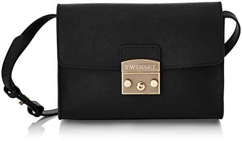 Twin Set As7t51, Borsa a Tracolla Donna, 8x16x22 cm (W x H x L) Nero