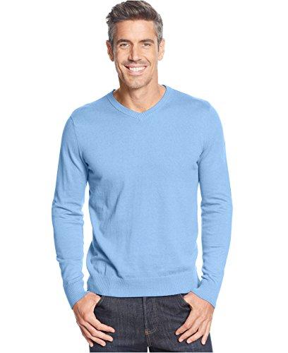 John Ashford Mens V-Neck Long Sleeve Pullover Sweater Blue S