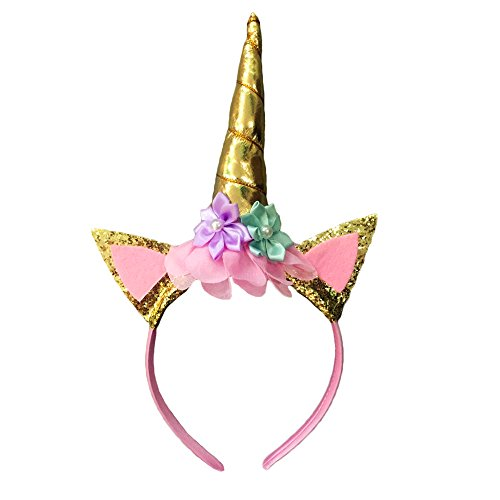 Unicorn Headband Unicorn Birthday Rose Flower Headband Unicorn Party Halloween Christmas Animal Ears (Gold) -