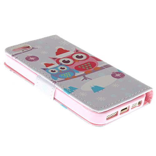 MOONCASE iPhone 5 Case Magnetverschluss [Painted Patterns] Leder Tasche Flip Case Cover Schutzhülle Etui Hülle Schale für iPhone 5 5S -LK06