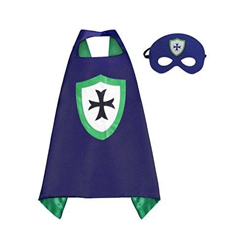 Rush Dance Kids Children's Deluxe Comics Super Hero Cape & Matching MASK Costume (Navy Blue Knight)