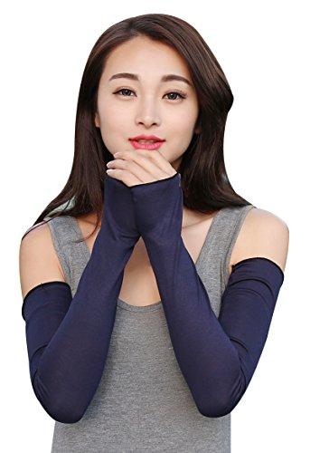 Bellady Women Outdoor Sun Block Soft Long Arm Sleeve Fingerless Gloves