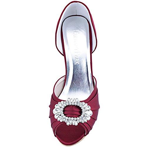 Shoes Women Burgundy Heel Evening Women Satin Rhinestones High Ruched Toe Pumps ElegantPark Prom A2136 Peep HpxCOw5HqR