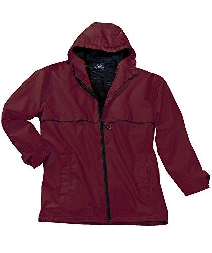 Charles River Apparel Men's New Englander Waterproof Rain Jacket (Reg & Ext Sizes), Maroon/Black L ()