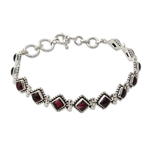 (NOVICA .925 Sterling Silver and Garnet Tennis Bracelet, 7.75