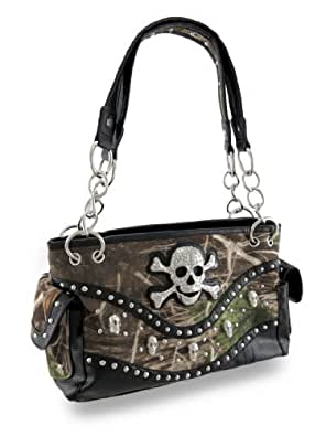 Flocked Camo Concealed Carry Purse Mock Croc Trim And