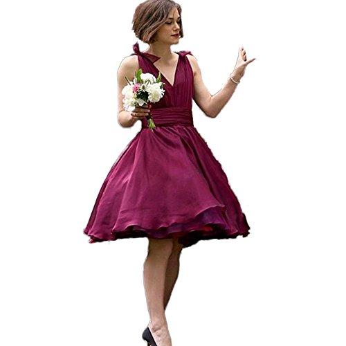 Festliche Junior Burgund Brautjungfernkleid Kurz Hochzeit CoCogirls Kleider Einzigartig Abendkleid V Brautjungfernkleider Ballkleid Ausschnitt Frau RnaqwCPx