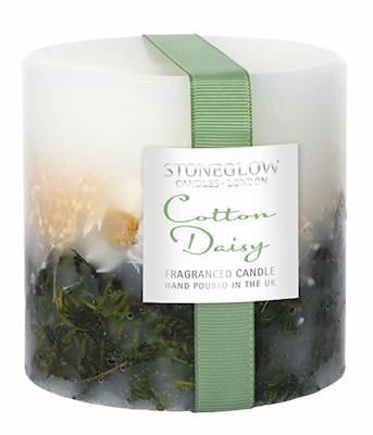 Stoneglow Cotton Daisy Botanics Fat Pillar Scented Candle