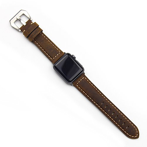 Price comparison product image AISPORTS iWatch Band 38mm Leather Crazy Horse Pattern Smart Watch Band Replacement Band with Metal Bracelet Buckle Clasp Wrist Band for 38mm Apple Watch Series 3 / 2 / 1 Sport Edition - Dark Brown