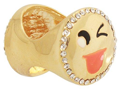 Bijoux De Ja Gold Plated 2 Smile Faces Cocktail Ring Size (Sun Face Doorbell)