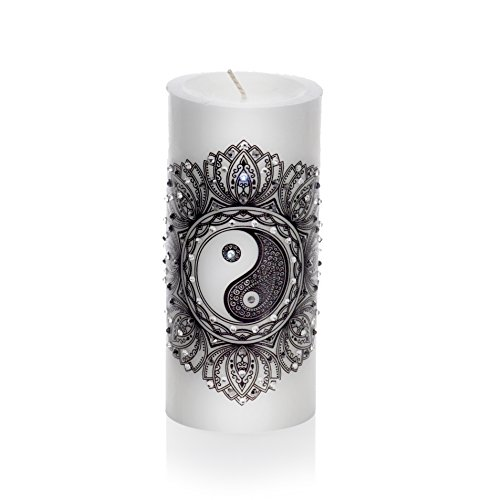Sam & Wishbone Feng Shui Decorative Candles. Home Luxury Gift Unscented Hand Made Pillar Candle. A Simple Symbol in a Good Environment can be Very Powerful. (yin yang)