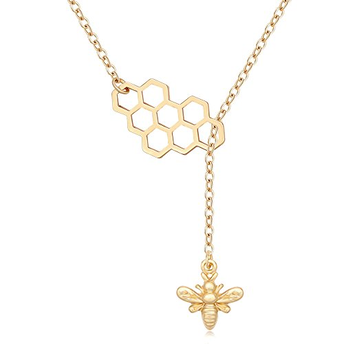 MANZHEN Geometric Bee Hive with Honey Bee Lariat Y Necklace (Gold) ()