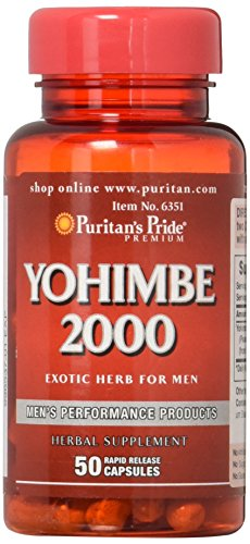 Yohimbe Bark - Puritans Pride Yohimbe 2000 Mg, 50 Count