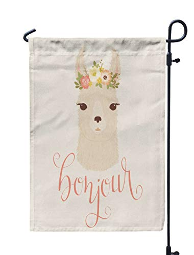 Shorping Welcome Garden Flag, 12x18Inch Llama in Floral Wreath French quotbonjourquot for Holiday and Seasonal Double-Sided Printing Yards Flags