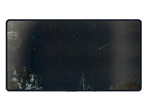 Meteor Shower Large Gaming Mouse Pad, Extended Mousepad with Durable Stitched Edges, Ideal for Desk Cover, Computer Keyboard, PC and Laptop 15.7