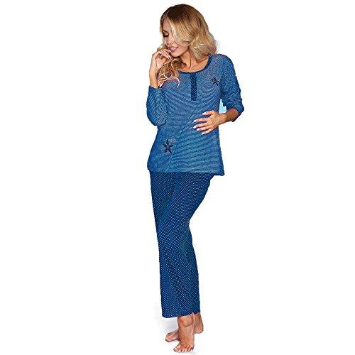 Livia Corsetti - Pijama - Manga Larga - para mujer azul marino