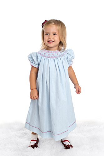 Baby Girl's Hand Smocked Special Occasion Bishop Dress - Pink Smocking on Blue Gingham, 3M