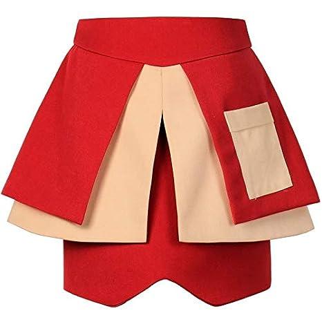 DQHXGSKS Mujeres asimétricas de la Vendimia Faldas de Cintura Alta ...