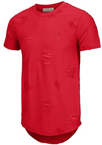 KLIEGOU Mens Hipster Hip Hop Ripped Round Hemline Hole T Shirt(1705) (XX-Large, Red)
