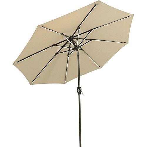 rella Patio Umbrella w/Push-Button Tilt and Crank, 9 Foot Market Umbrella with Solar LED Light Bars and Rust Resistant Aluminum, Sunbrella Beige (9' Sunbrella Market Umbrella)
