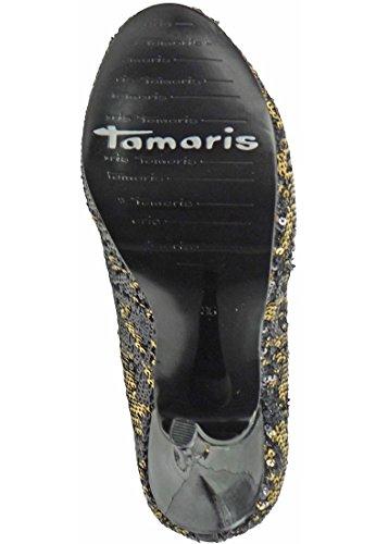 Bombas de la plataforma Tamaris negro con oro de alta talón textil 1-22425-23 091 Negro Oro Schwarz Gold