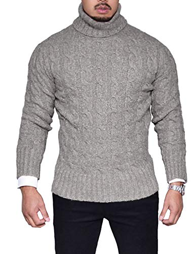 22d1790af COOFANDY Men's Slim Fit Turtleneck Sweater Casual Twisted Knitted Pullover  Sweaters by COOFANDY