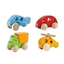 Hape Wooden Toy Vehicles - Early Explorer 4 Piece Set - Includes Little Copter, Dump Truck, Plane and Mini Van