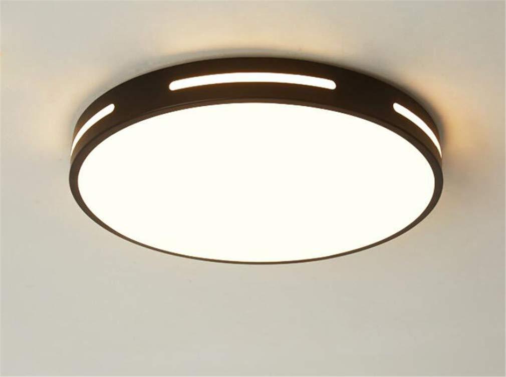 シーリングライト、ラウンドアクリルアイアンアートLED 3色温度利用可能リビングルーム寝室研究通路バルコニー Black 50cm 36W 50cm 36W Black B07TKKF7CV