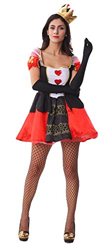 Alice In Wonderland King Of Hearts (King Ma Women's Fancy Dress Halloween Costume Cosplay Queen of Hearts Suit)