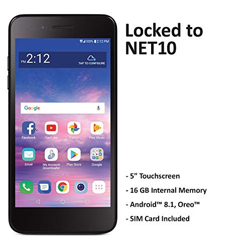Net10 LG Rebel 4 4G LTE Prepaid Smartphone (Locked) - Black - 16GB - Sim Card Included - CDMA