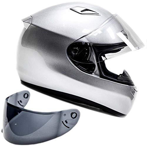 Snell M2015 Approved Full Face Motorcycle Helmet (Medium - Silver)