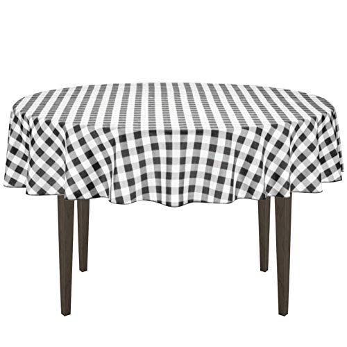 (LinenTablecloth 70-Inch Round Polyester Tablecloth Black & White Checker)
