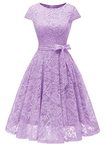 MUADRESS 6008 Women Short Lace Bridesmaid Dresses with Cap-Sleeve Formal Party Dresses Lavender XX-Large