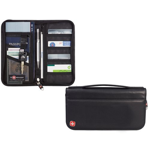 Wenger Wenger leather travel wallet black 9350-64bk