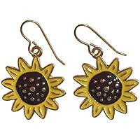 Sunflower Earrings for Women 10k Gold Plate Dangle