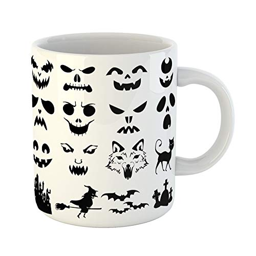 Emvency Coffee Tea Mug Gift 11 Ounces Funny Ceramic Stencil of Halloween Pumpkins Carved Silhouettes Face Gifts For Family Friends Coworkers Boss Mug]()