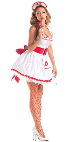 Party King Women's Naughty Nurse Sexy 4 Piece Costume Set, White/Red, X-Large (Naughty Costume Party)