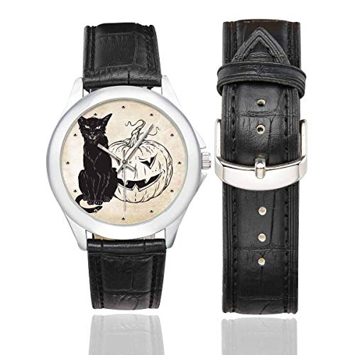 InterestPrint Black Cat Sitting with Halloween Pumpkin Women's Waterproof Stainless Steel Watch with Black Leather Band ()