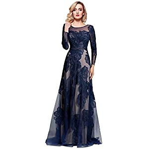 5326fd5706bd6 Meier Women s Long Sleeve Illusion Back Embroidery Lace Evening Dress Navy  Size 18